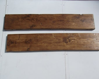 RUSTIC SHELVES  X 2.   Handmade from reclaimed timber  1000 X 225 X 35mm  finished in Briwax dark oak