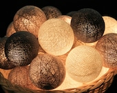 35 Soft Gray Cotton Ball String Lights for Bedroom, Wedding, Patio Party, Fairy, Outdoor