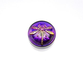 1pc Czech Hand Made Art Glass Button Cabochon Dragonfly Round  18mm Crystal Violet/Purple   (15016)