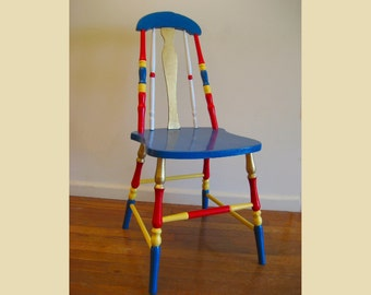 Rounded Top Vintage Hand Painted Chair in Classic Circus Colors