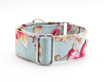 Martingale Collar-Vintage Floral Over Baby Blue Polka Dot Martingale Dog Collar/ Whippet Collar/ Greyhound Collar