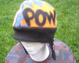 Comic Book POW BAM Embroidered REVERSIBLE Fleece Ear Flap Hat