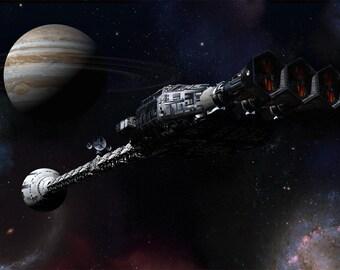 2001 A Space Odyssey  Digital Art  Glossy Print  'Discovery Near Jupiter'