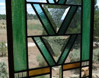 "ON SALE was 375.00 now 300.00""PRAIRIE""frank lloyd wright style, craftsman style, mission style,beveled glass,architectural glass,sun catcher"