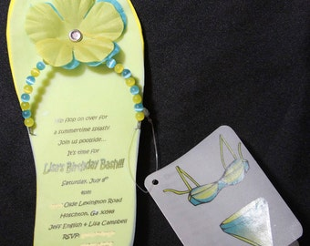 DEPOSIT | Custom Handmade Invitation - Beaded Flip Flop