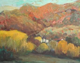 Vintage Oil Painting, Mountain Landscape, Signed