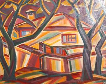 Cubist Oil Painting Village Houses Landscape Signed