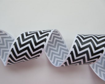 "Black and White Chevron Ribbon Wired 1 1/2"" inch  wide Grosgrain Ribbon Gift Wrap Gift Basket Wreath Center Piece Home Decor Craft  LR009"