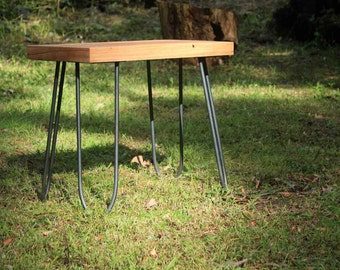 Reclaimed Tasmanian Oak side table with handcrafted hairpin legs