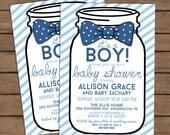 Baby Shower Invitation - Mason Jar - Bow Tie - Choose Your Color - Printable - DIY