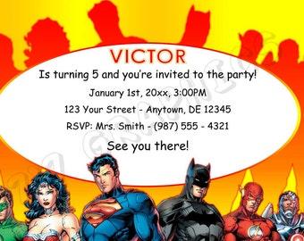 Justice League Birthday Invitation - Printable