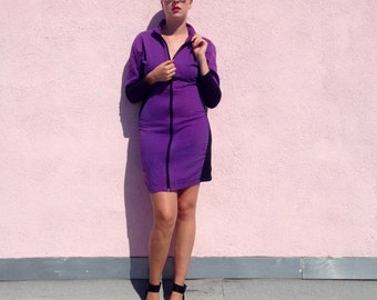 Vintage Block Color Zip-Front Dress