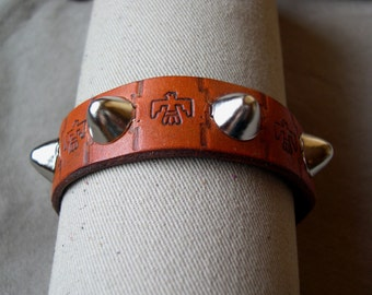 "J122  ON SALE   3/4"" wide Leather Bracelet with Silver Cone Studs & Thunderbird Stamping"
