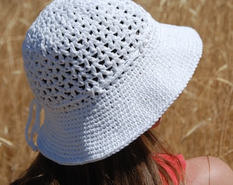 Mother's day gift, women summer hat,summer spring hat for woman, crochet summer hat, white cotton hat with brim, hat with bow, ready to ship