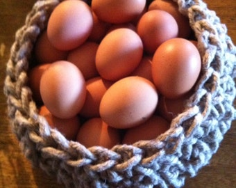 medium sized French linen twine basket