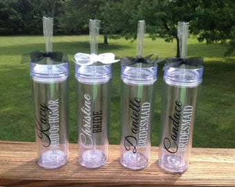 Skinny Tumbler with 2 lines Vinyl Text - Great Vibes font