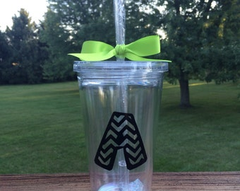 Tumbler with Initial in Chevron Pattern