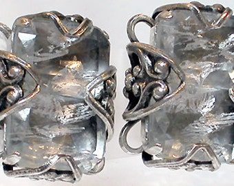 """French Earrings """"Silver Glace"""" (Clips) Silver with Metallic Glass Cabochon"""