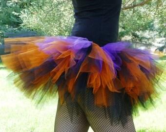 Adult Halloween Tutu~ Adult Tutu~ Rave Tutu~ Black Orange Sparkle Purple Tulle~ Runner Tutu~ Custom Sizes Infant, Child, Teen, Adult