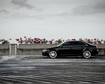 Poster of Audi S4 Left Side  Black on 360 Forged wheels HD print