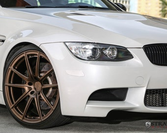 BMW E92 M3 Right Front Center White on Strasse Wheels HD Poster Print