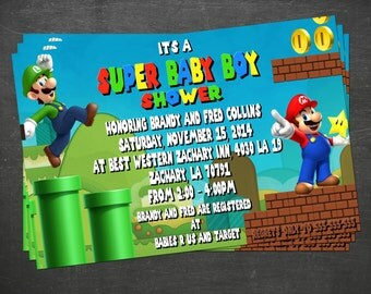 Super Mario Baby Shower Invite