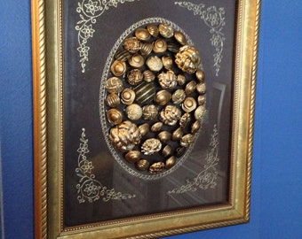 Large (8x10) One of a Kind, Hand Crafted Goldtone Button Art