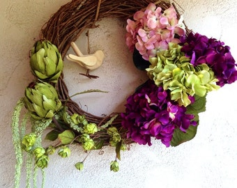 Romantic Hydrangea Artichoke Bird 12-inch Wreath