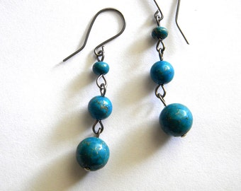 Blue Faience Earrings on Niobium