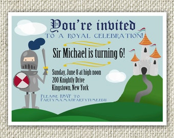 Knight Birthday Party Invitation, Armor, Sword, Castle, Boy Royal Party, INSTANT DOWNLOAD, Boy Birthday, Royal Invitation, Knight Party