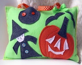 Tooth Fairy Pillow, cushion, handmade gifts for children, nursery decor, kids halloween decor, felt pillows, HALLOWEEN WITCH