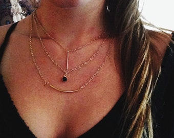 Simple Gold Layered Necklace Set