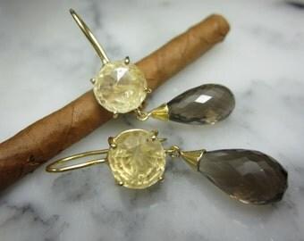 TOM K Earrings Mix &Match Hooks Smoky Lemon quartz  Briolett Drops Beads Gold Citrin