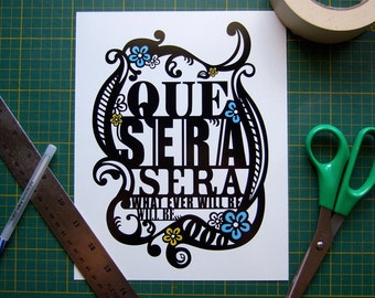 Typography Print, Que Sera Sera Poster, Wall Art, Song Lyric Nursery Art, Inspirational Quote Illustration, Dorm Room Decor, Black White