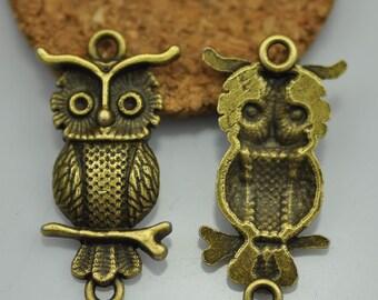10pcs Antique Bronze Owl Charms Pendants Findings (#3010288)