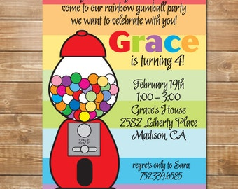 Gumball Personalized Invite, Candy Party Invitation, Girls Birthday Party Invitation, Printable, Digital, gumball machine