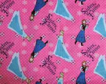 Disney Frozen Fabric Elsa Anna Sisters Forever 100% Cotton