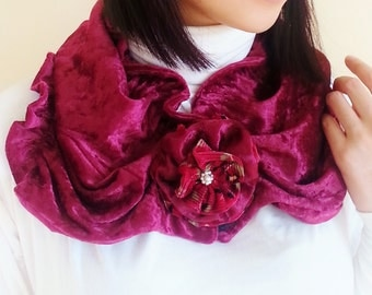 Maroon Stretch Velvet Fashion Scarf with Flower