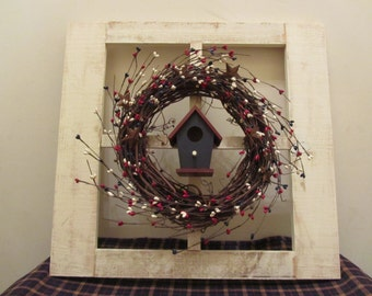 Hand Made 4 Pane Window with Lighted Decorated Wreath and Birdhouse
