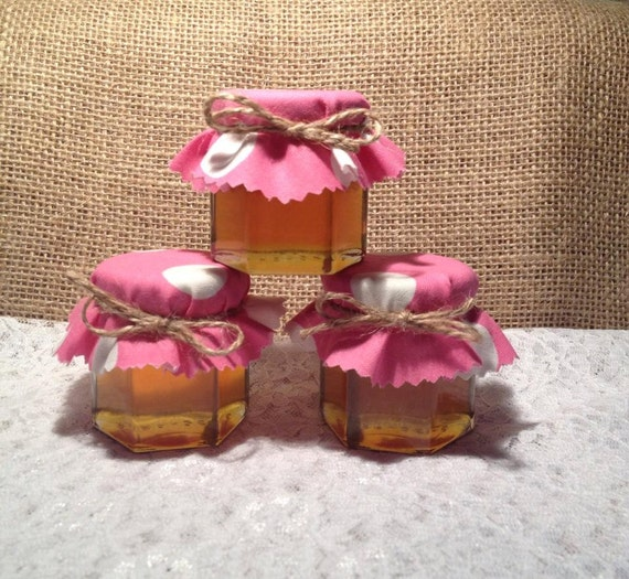 30 Qty Mini Honey Jars Favors With Pink Polka Dots FabricGold