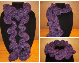 Crochet Ruffle Scarf - Purple