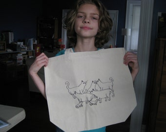 "canvas tote bag - hand signed by artist emily burke - ""warrior cats"""