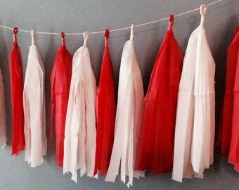 Red and White Tissue Tassel Garland
