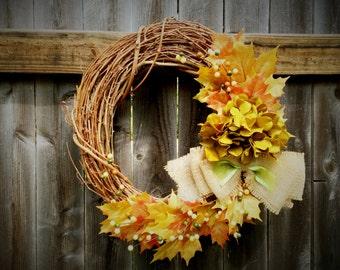 Golden leaf and hydrangea wreath