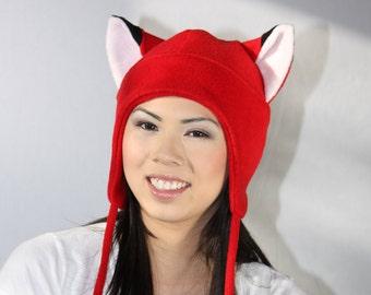 Naruto Fox Hat - Fox Ears - Red Fox Fleece Hat - Fox Ears Hat - Aviator Earflap Hat - Anime Hat - Cosplay Hat - Anime Hat - Manga Fox - Goth