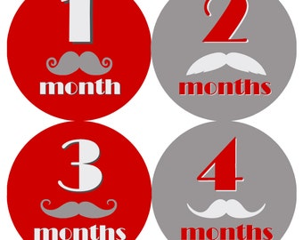 Red & Gray Moustaches Monthly Onesie Stickers - Light Grey Gray Red Soft Moustache