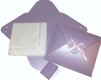 Ladies Handkerchief Box Package Envelope Flat Fold Shimmering Lavender