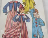 Kids Halloween Costume Clown Clowns size 6 8 Boys Simplicity Pattern 9051 Sewing Vintage Patterns