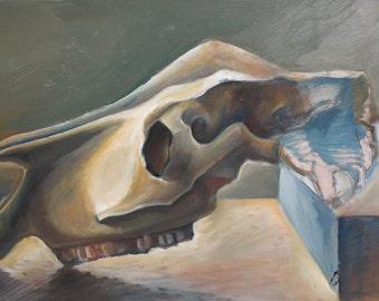 Vintage oil painting animal skull