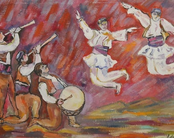 Vintage expressionist folk dancing portraits oil painting